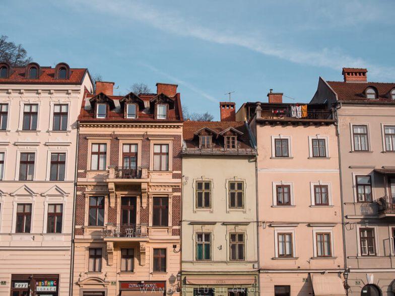A row of buildings in Ljubljana.