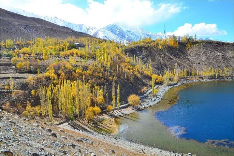 A beautiful blue lake surrounded by fall foliage, one of the most beautiful places in Pakistan.