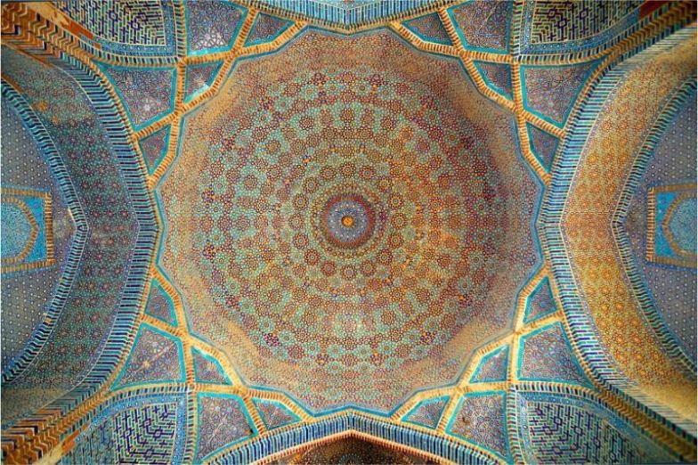 The richly decorated ceiling of a mosque, one of the most beautiful places in Pakistan.