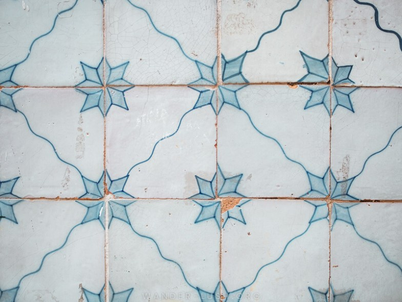 White and blue tiles.