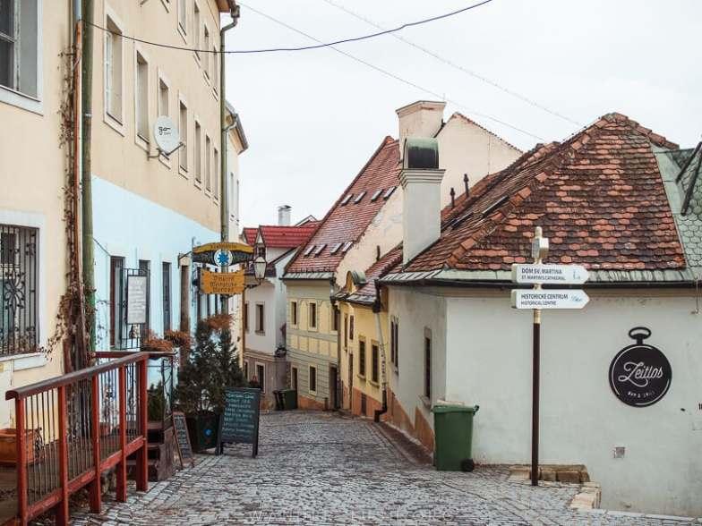 Cobbled streets in Bratislava.