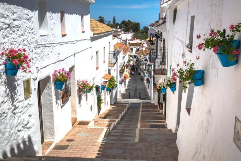 White walls and flower pots in a Spanish village.
