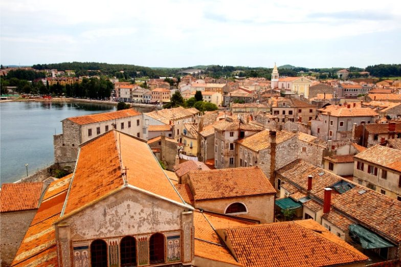 A sea of orange rooftops in Istria, Croatia.