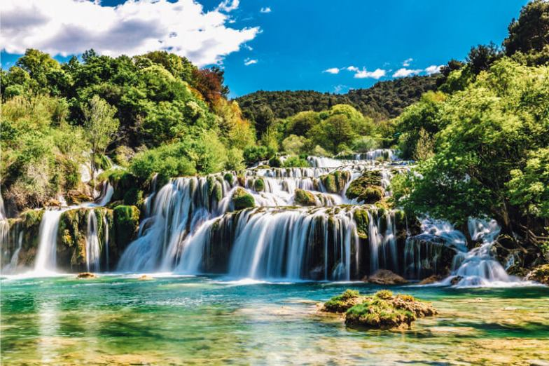 A beautiful waterfall in Krka, Croatia.