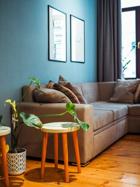 A sofa in a cosy living room.