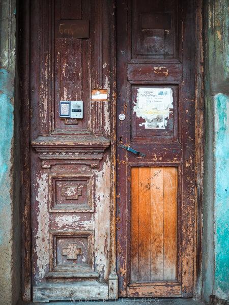 An old wooden door.