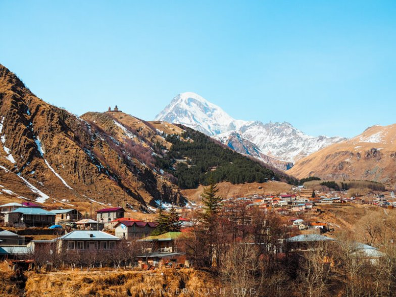 A mountainous landscape in Kazbegi, Georgia.