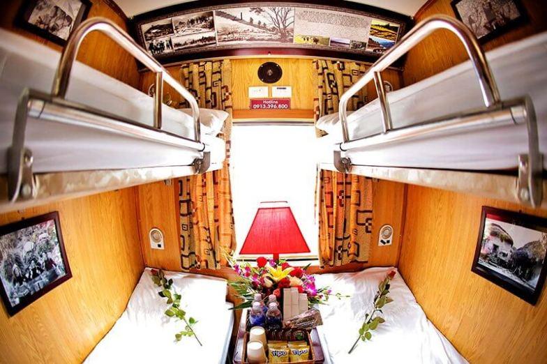 Inside a VIP train carriage in Vietnam.