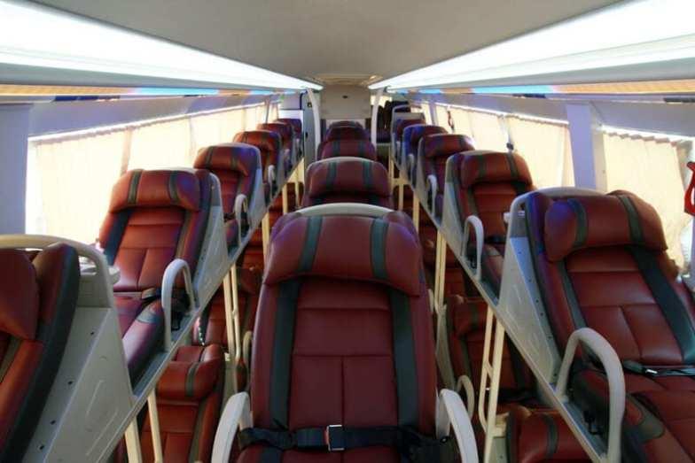 Seats inside the Hanoi to Sapa Express Bus.