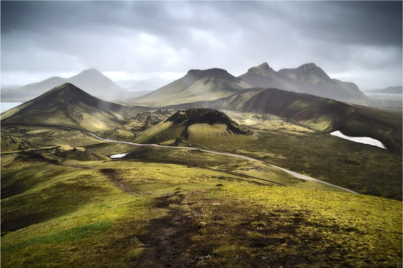 Iceland's velvety mountains.