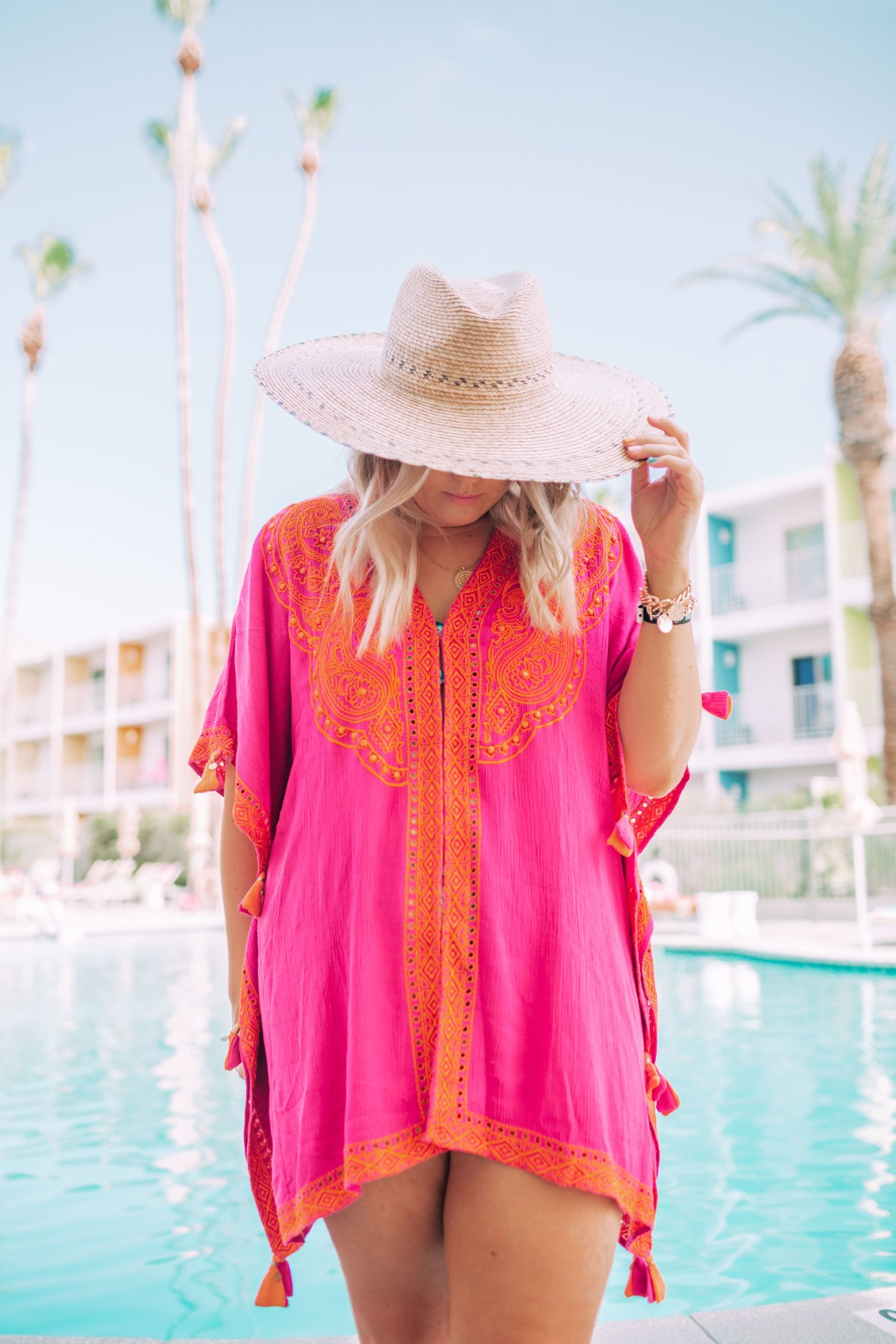 hot pink embroidered cover up in palm springs