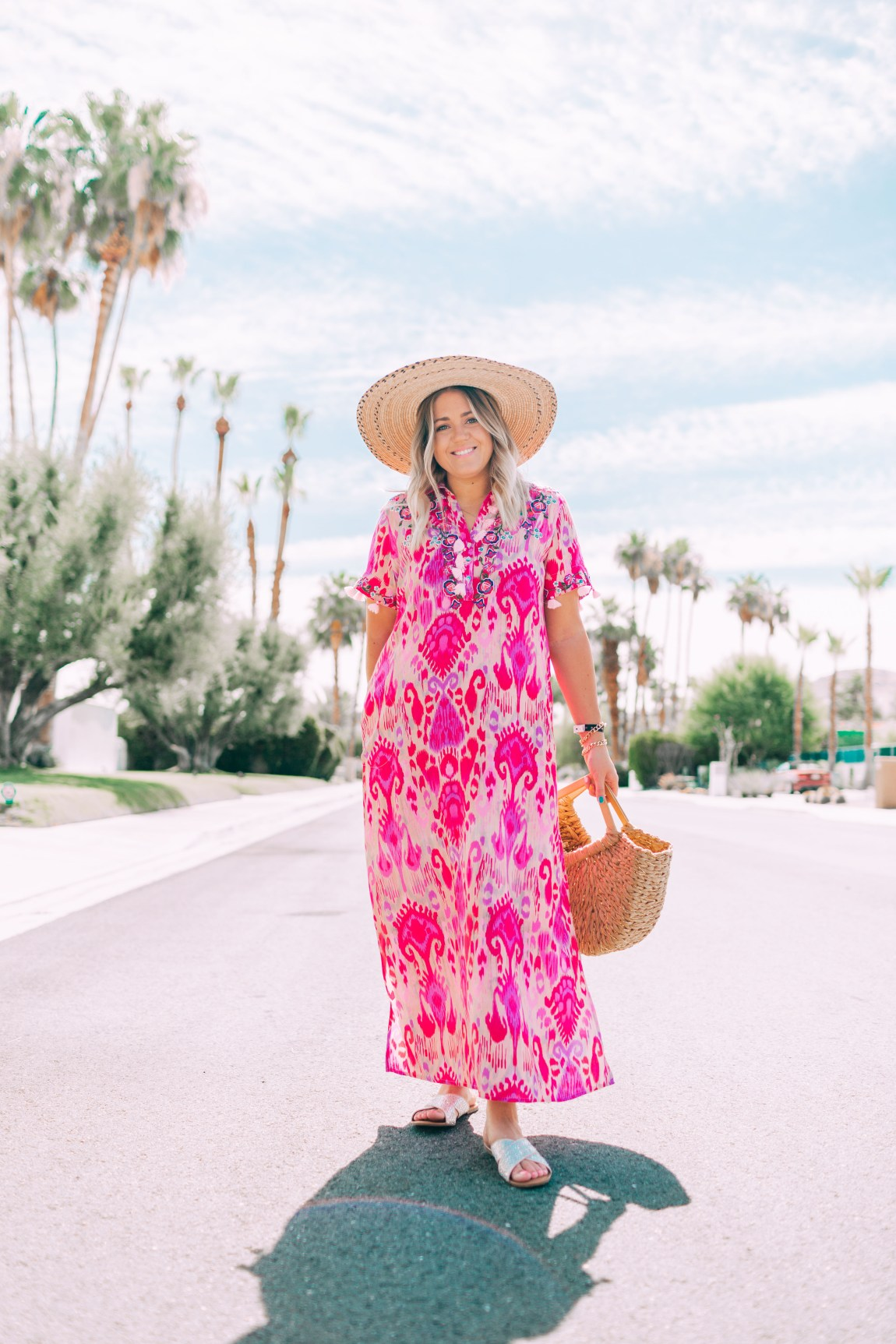 hot pink boho printed maxi dress in palm springs
