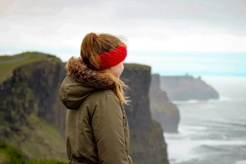 Woman Dressed Warmly Cliff Moher