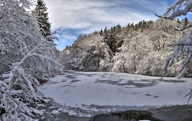 Winterwanderung durchs Sammetbachtal - Fischteich