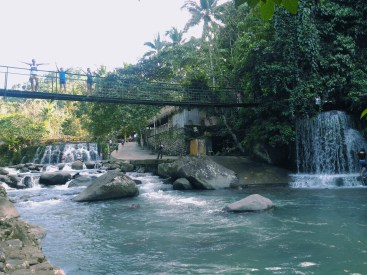 One of the hanging bridges of the resort