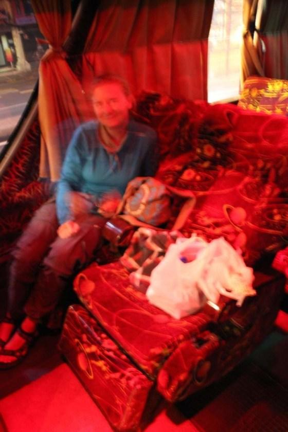 Unser Platz im Reisebus nach Kuala Lumpur