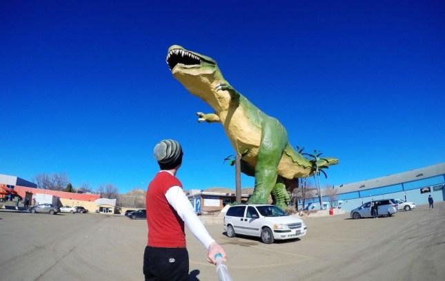 Der größte Dinosauriere der Welt steht in Drumheller, Alberta, Kanada