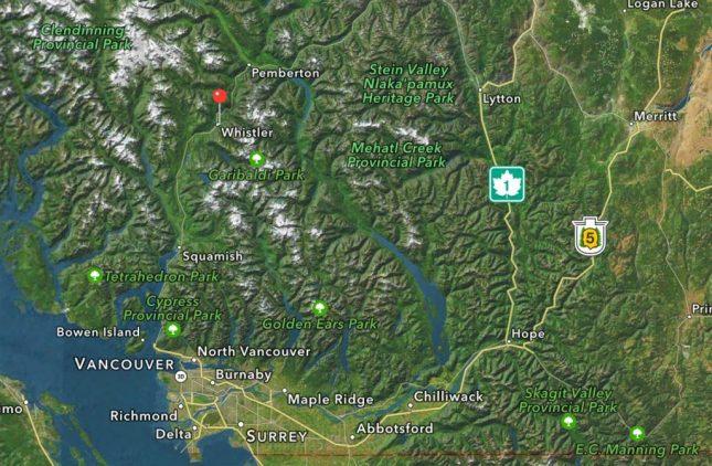 Karte zu Whistler Blackcomb bei Vancouver