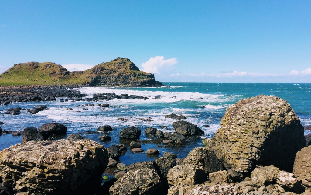 View of the rocks and sea at Giant's Causeway