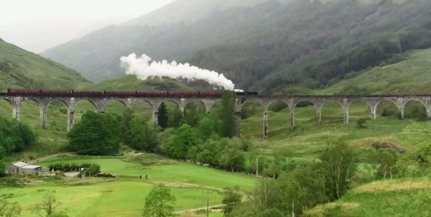 Harry Potter train crossing Glenfinnan Viaduct, Scotland