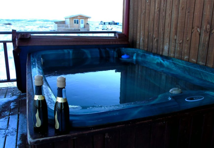 Prosecco at the hot tub
