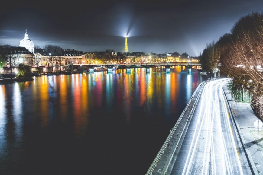 The River Seine in Paris at night