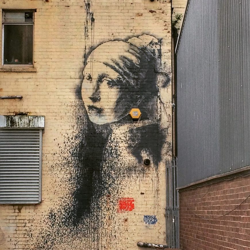 Girl with the Pearl Earring Street Art by Banksy