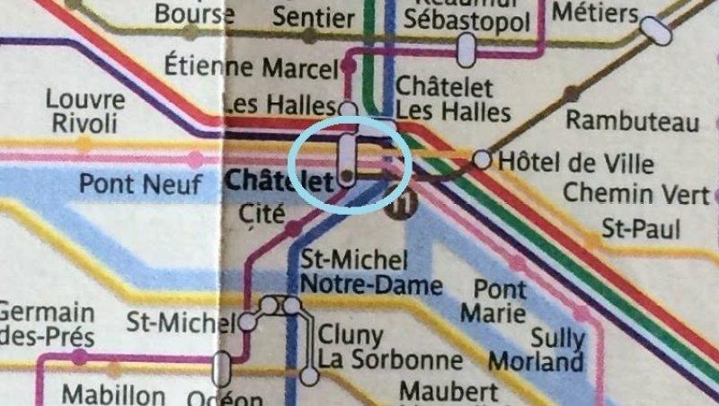 Paris Metro Map: Chatelet Station Circled
