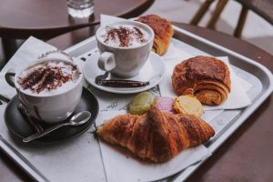 Chocolats chauds and pastries in a Parisian cafe