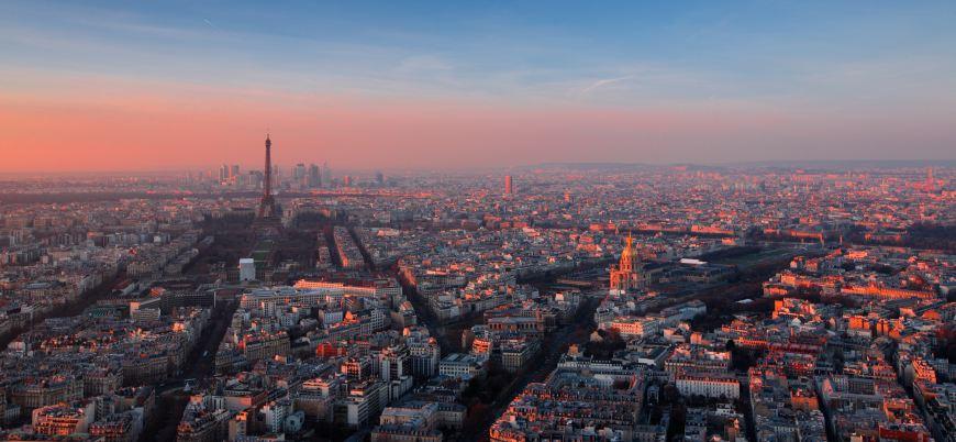 The city of Paris at sunset