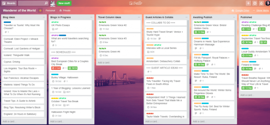 Wanderer of the World Trello Board