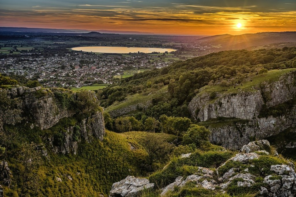 Sunset views from Cheddar Gorge