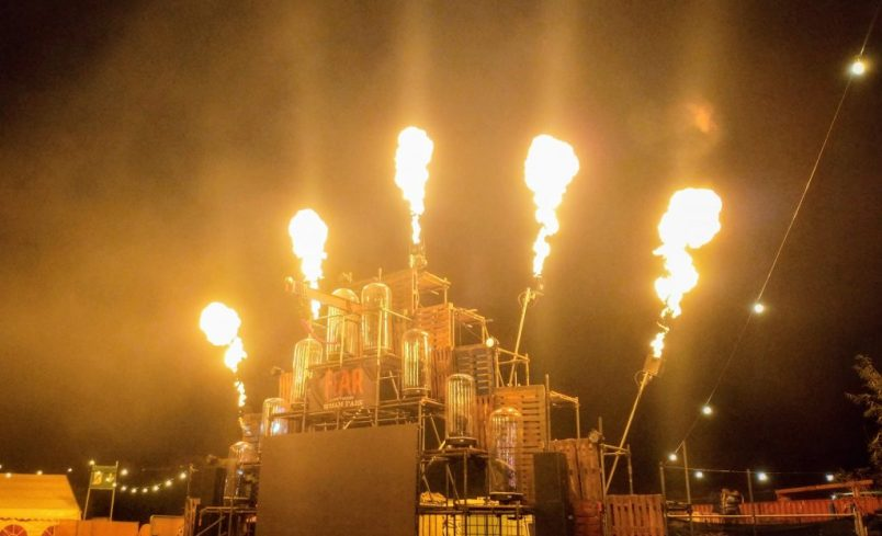 Pyrotechnic fire display at Fear, Avon Valley