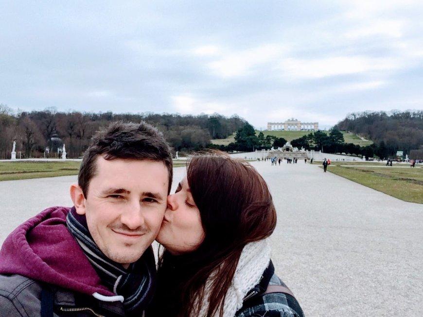 Justine stealing a kiss in Vienna
