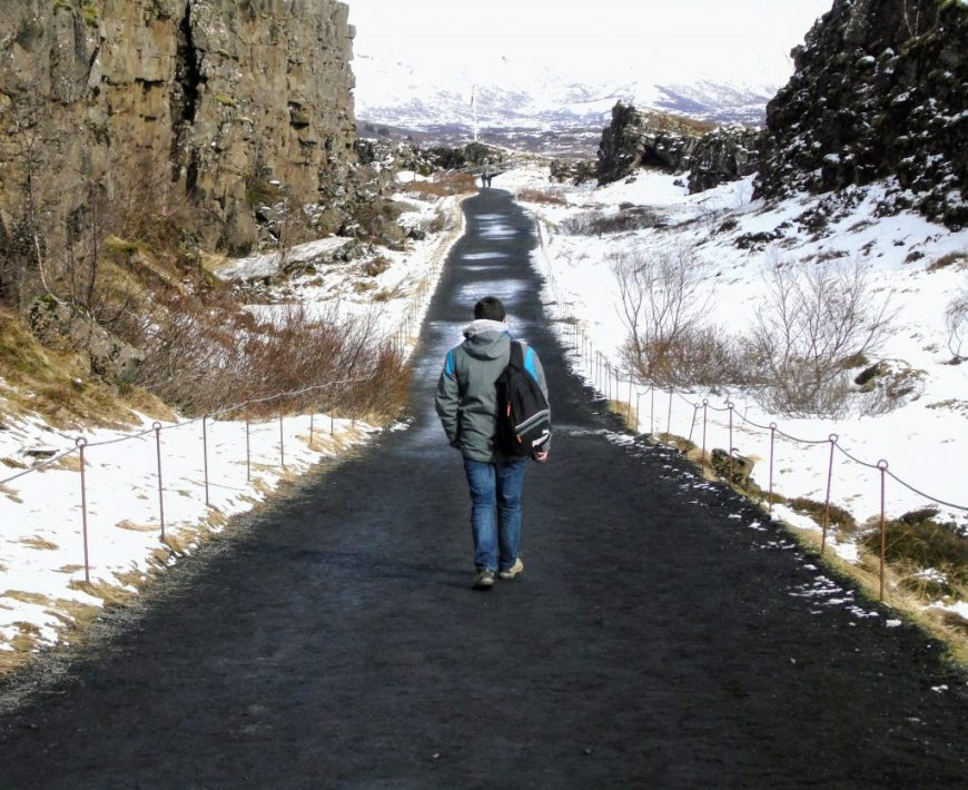 Scott in Thingvellir National Park, Iceland in spring