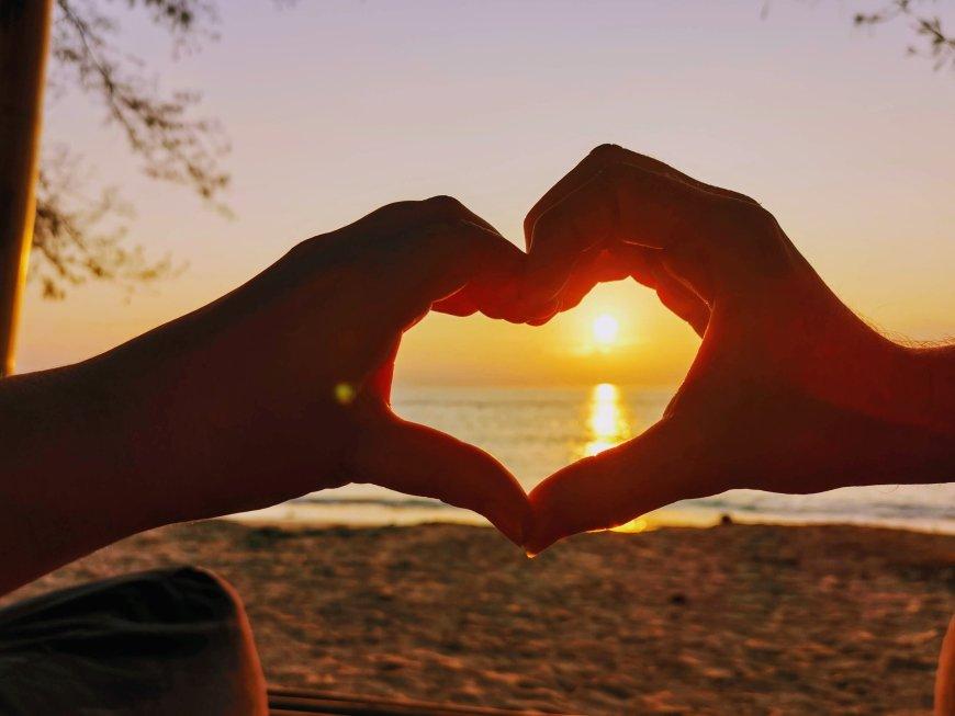 Making hearts at sunrise