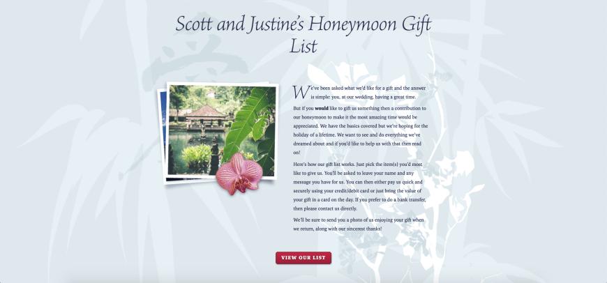 Scott and Justine's Honeymoon Gift List with Buy Our Honeymoon