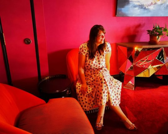 Justine relaxing at The Scarlet Hotel Singapore