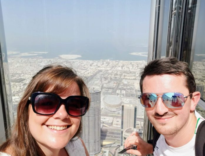 Justine and Scott at the top of Burj Khalifa, Dubai