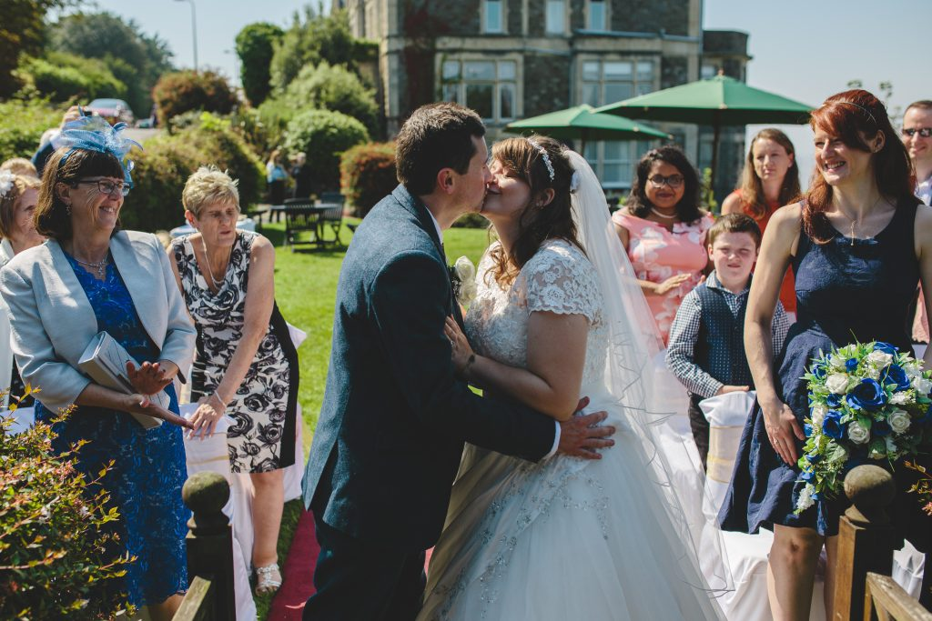 Justine and Scott getting married in Clevedon, England
