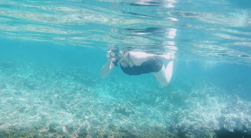 Justine snorkelling at Turtle Point, Gili Meno