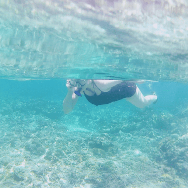 Justine snorkelling at Turtle Point near Gili Meno