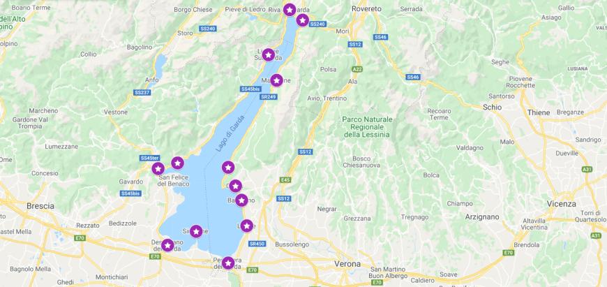 Pretty Lake Garda Towns Map