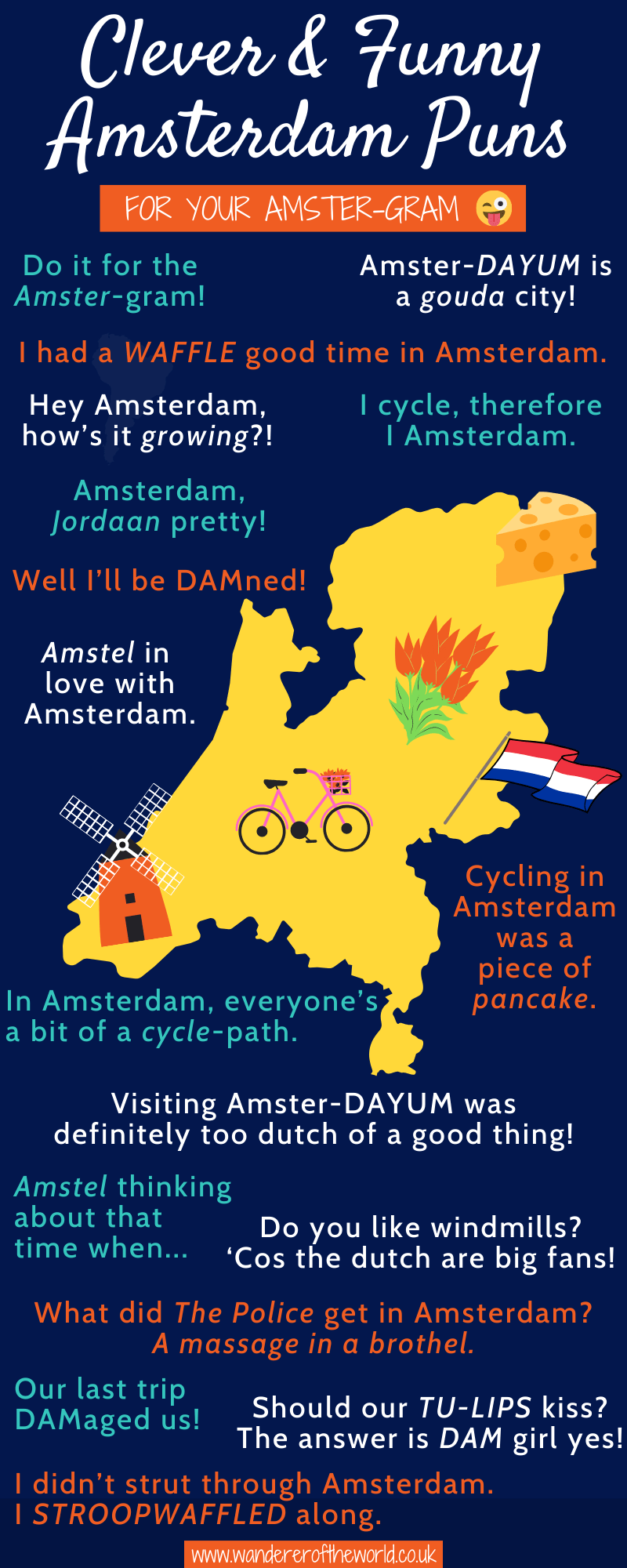 Funny Amsterdam Puns & Clever Amsterdam Instagram Captions