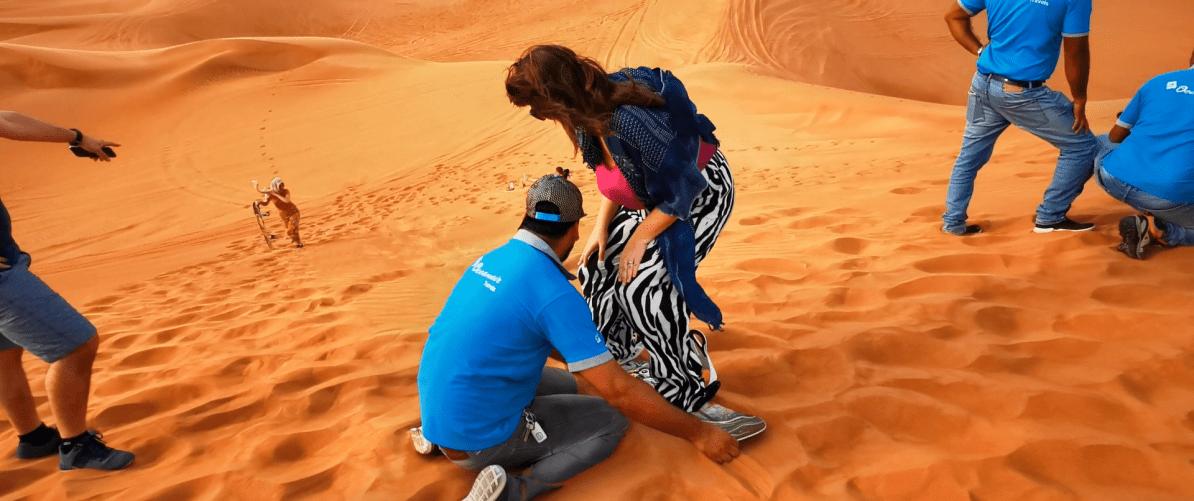Justine's failed attempt at sandboarding in Dubai