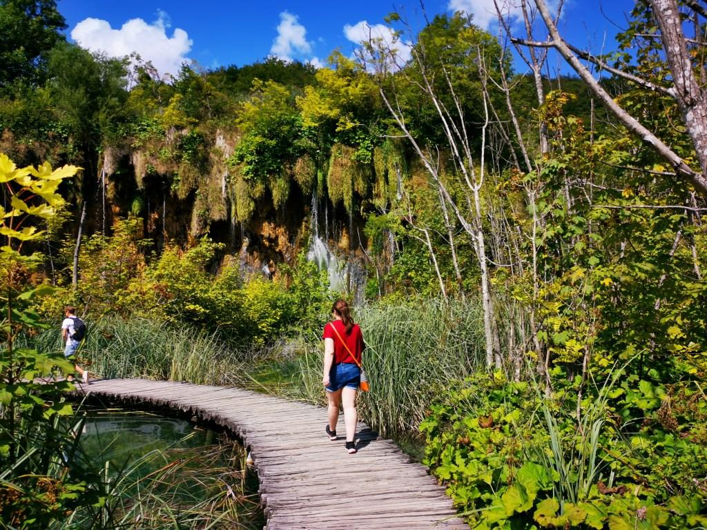Justine walking at Plitvice Lakes