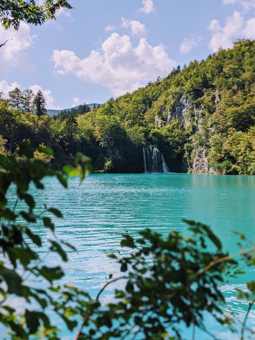 Views from our picnic spot at Plitvice Lakes in Croatia