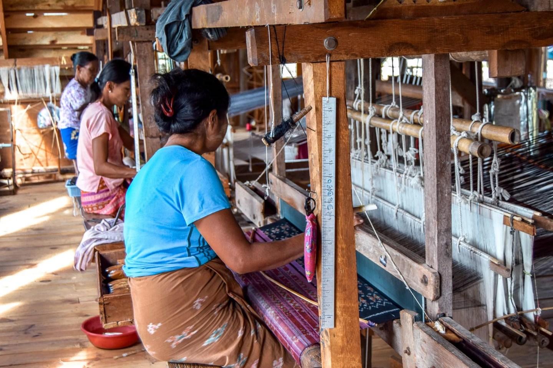 Wanderers & Warriors - Charlie & Lauren UK Travel Couple - Silk & Lotus Weaving Inle Lake Myanmar - Things To Do In Inle Lake - Inle Lake Tour