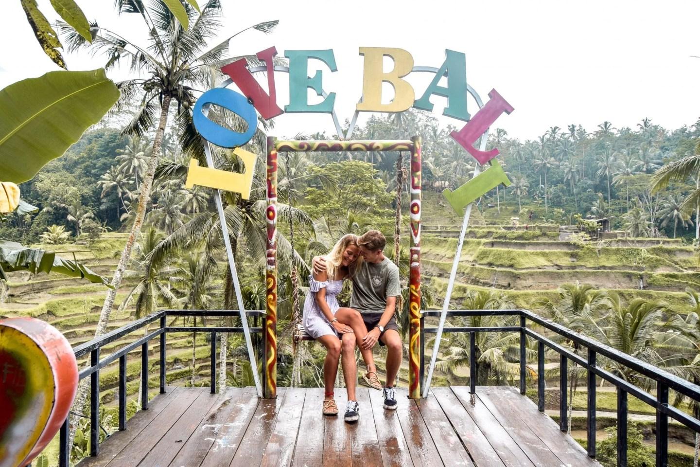 Wanderers & Warriors - Charlie & Lauren UK Travel Couple - Love Bali Sign - 8 Things To Do In Ubud