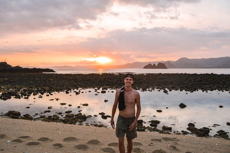 Wanderers & Warriors - Charlie & Lauren UK Travel Couple - Pantai Semeti Beach Lombok Sunset - best beaches in lombok beaches